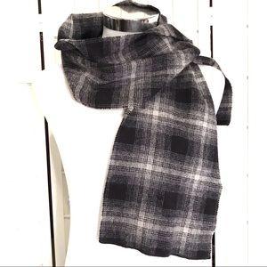 Eddie Bauer Black Grey Plaid Soft Wool Scarf
